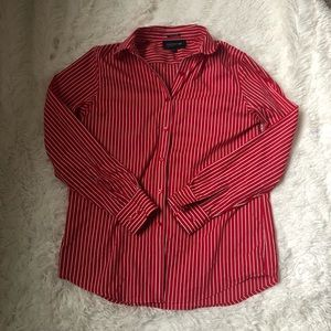 Jones New York red/white striped button up